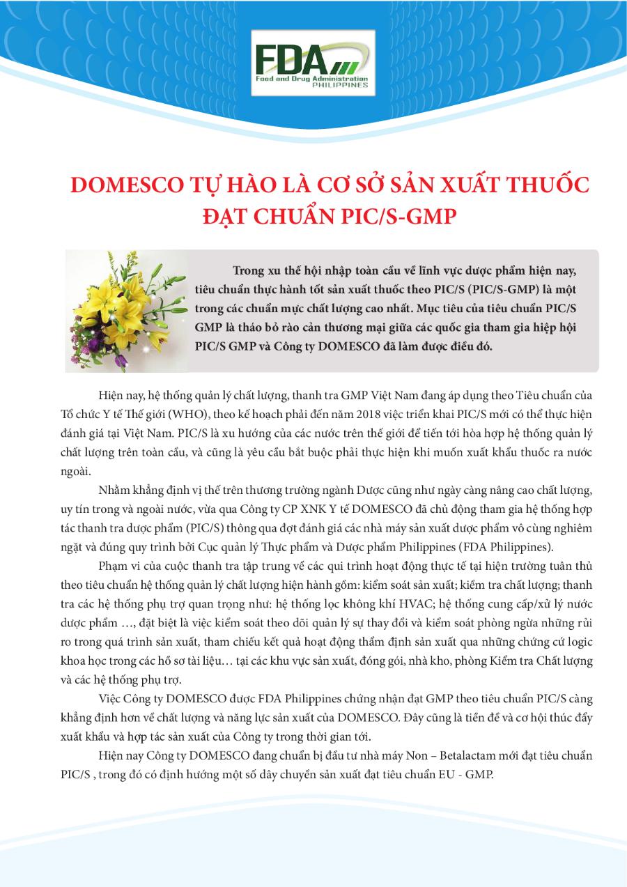 DOMESCO TỰ HÀO LÀ CƠ SỞ SẢN XUẤT THUỐC ĐẠT CHUẨN PIC/S-GMP